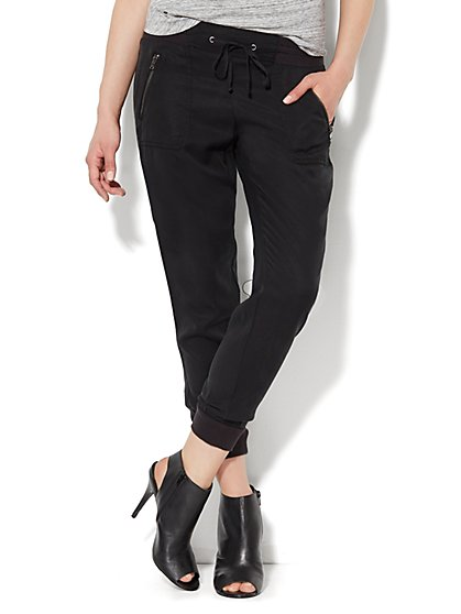 Solid Drawstring Jogger - Zip Accent - New York & Company