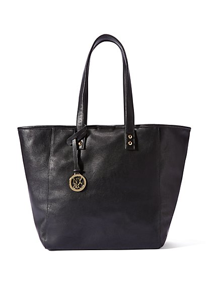Solid Faux-Leather Tote