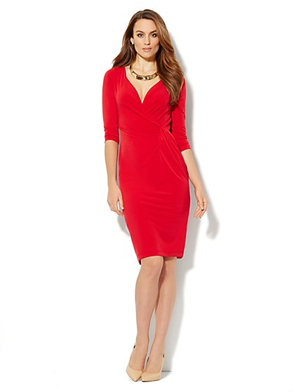 Solid Faux Wrap-Front Jersey Dress  - New York & Company