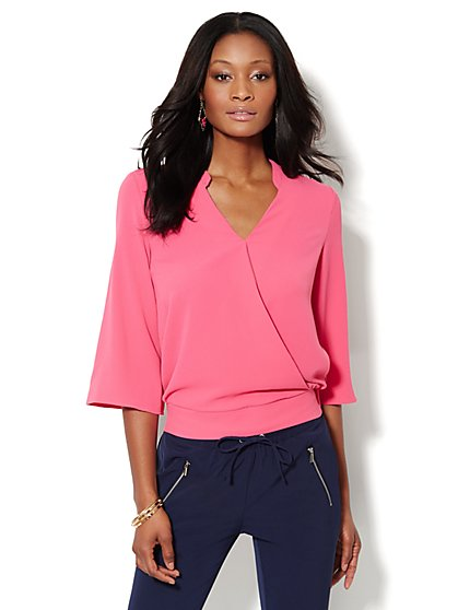 Solid Faux-Wrap Surplice Blouse  - New York & Company