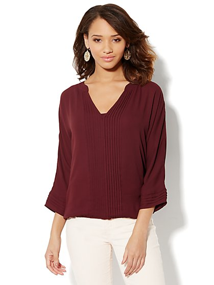 Solid Pintuck Blouse - New York & Company