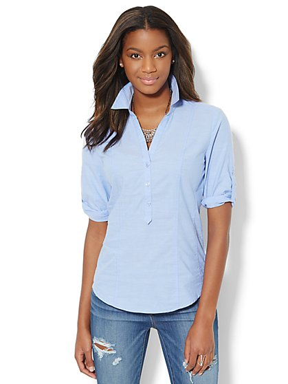 Solid Popover Shirt - Dashing Blue - New York & Company
