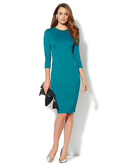 Solid Scuba Midi Sheath Dress - New York & Company