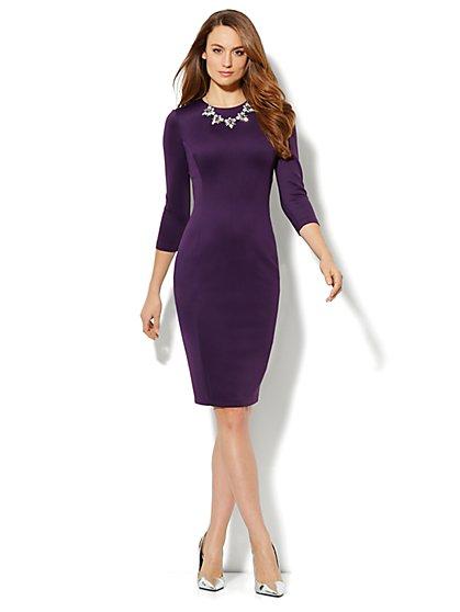 Solid Scuba Midi Sheath Dress - New York & Company