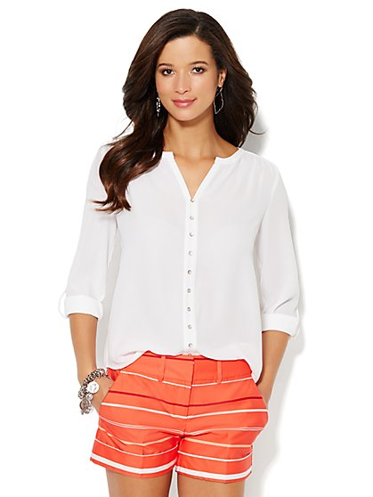 Solid Splitneck Blouse  - New York & Company