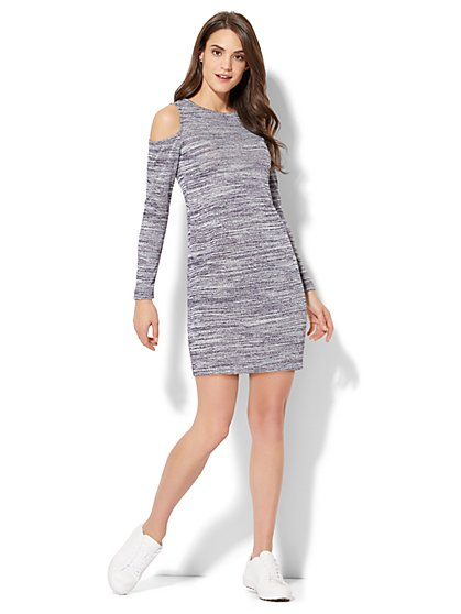 Space-Dye Cold-Shoulder Sheath Dress - New York & Company