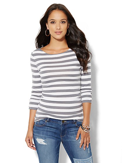 Sparkle Stripe Bateau-Neck Tee - New York & Company