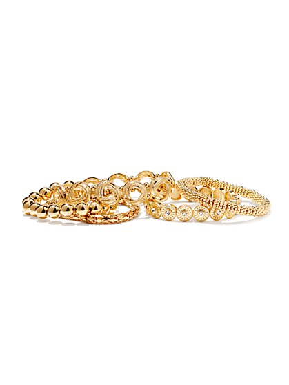 Sparkling 5-Piece Stretch Bracelet Set  - New York & Company