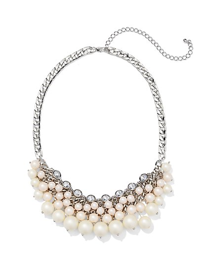 Sparkling Beaded Bib Necklace  - New York & Company
