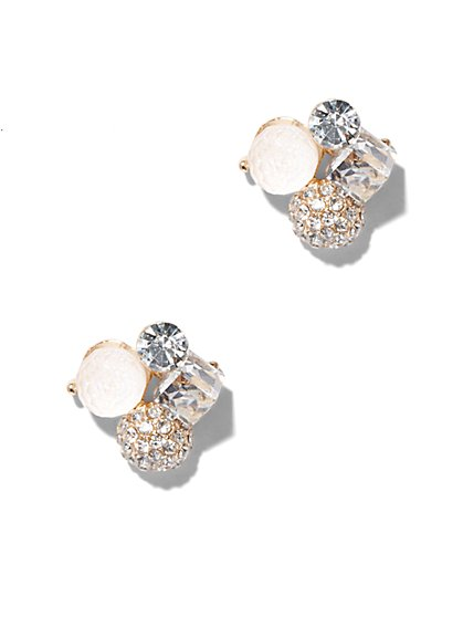 Sparkling Beaded Cluster Earring  - New York & Company