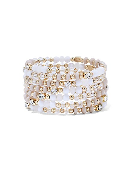 Sparkling Beaded Coil Bracelet  - New York & Company