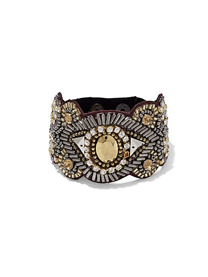 Sparkling Beaded Cuff Bracelet   - New York & Company