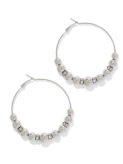 Sparkling Beaded Hoop Earring  - New York & Company