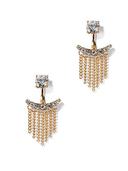 Sparkling Chain-Link Fringe Earring  - New York & Company