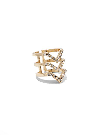 Sparkling Chevron Stacked Ring  - New York & Company
