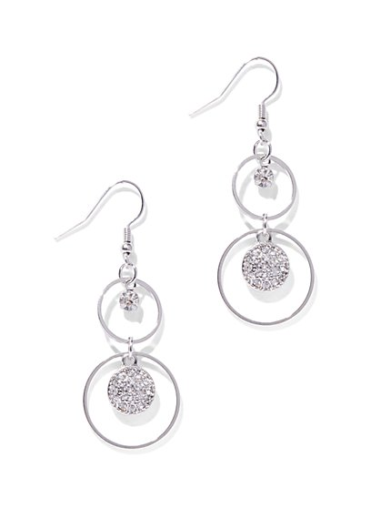 Sparkling Double-Circle Drop Earring  - New York & Company