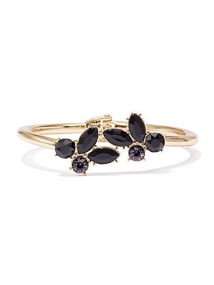 Sparkling Faux-Stone Hinge Cuff Bracelet  - New York & Company