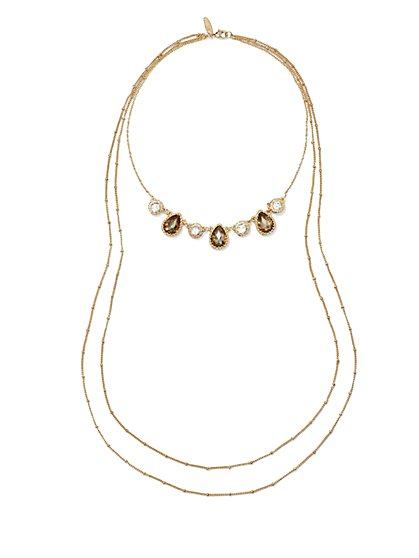 Sparkling Faux-Stone Layered Necklace  - New York & Company