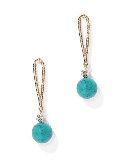 Sparkling Faux-Turquoise Drop Earring - New York & Company