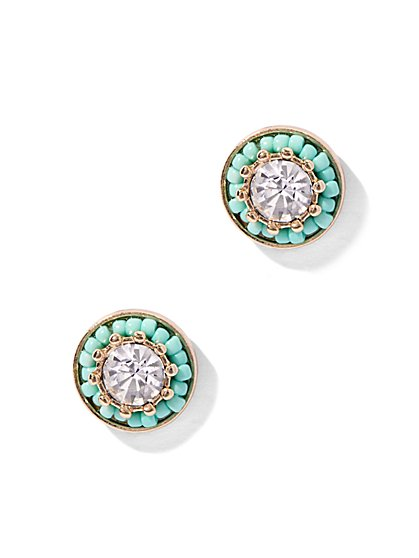 Sparkling Faux-Turquoise Post Earring  - New York & Company