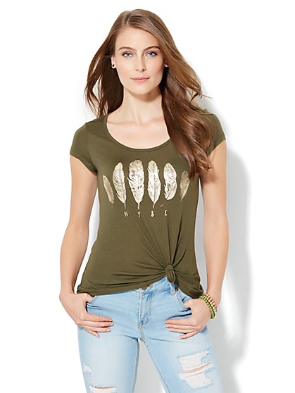 Sparkling Feathers Graphic Tee - New York & Company