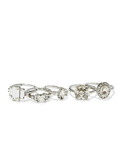 Sparkling Five-Piece Ring Set  - New York & Company