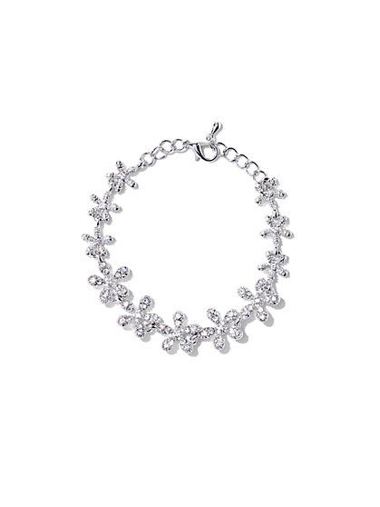 Sparkling Floral Chain-Link Bracelet  - New York & Company