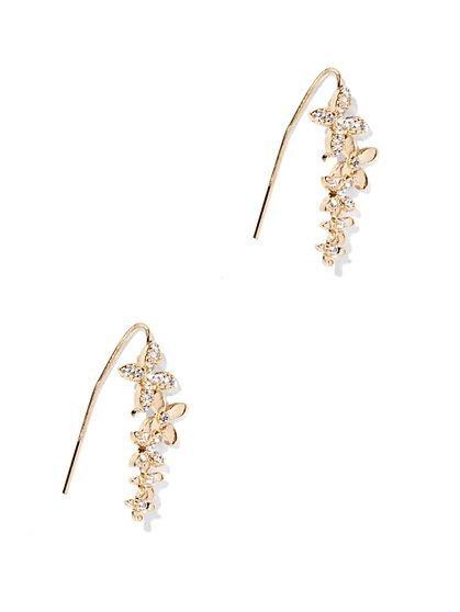 Sparkling Floral Ear Climber  - New York & Company