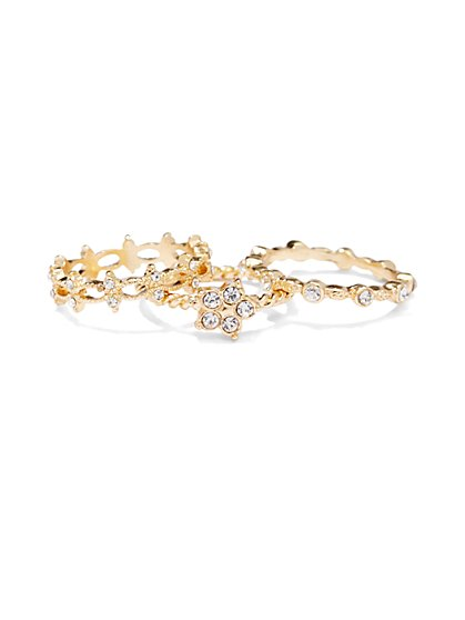 Sparkling Floral Goldtone Ring Set  - New York & Company