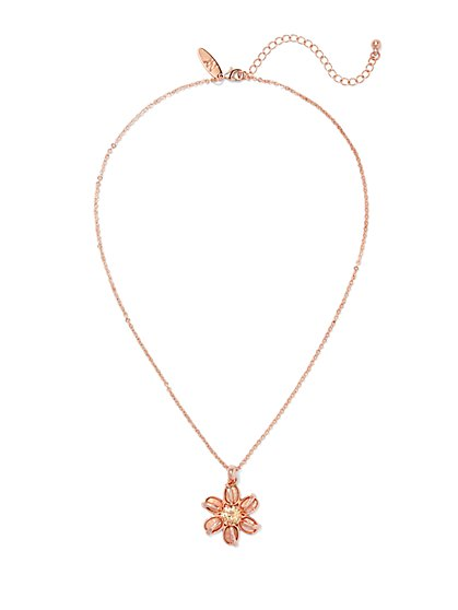 Sparkling Floral Pendant Necklace  - New York & Company