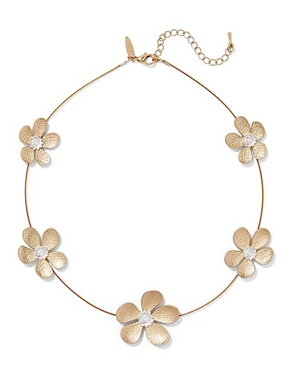 Sparkling Floral Station Necklace  - New York & Company