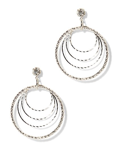 Sparkling Four-Ring Hoop Earring  - New York & Company