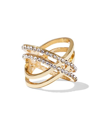 Sparkling Goldtone Crisscross Ring  - New York & Company