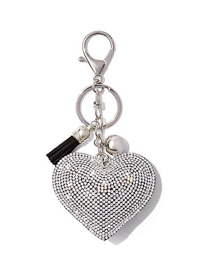 Sparkling Heart & Tassel Keychain  - New York & Company