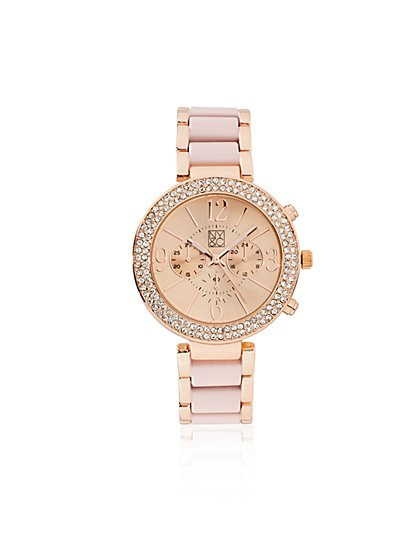 Sparkling Pave Bracelet Watch  - New York & Company