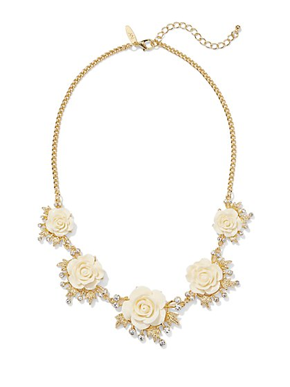 Sparkling Rosettes Bib Necklace  - New York & Company