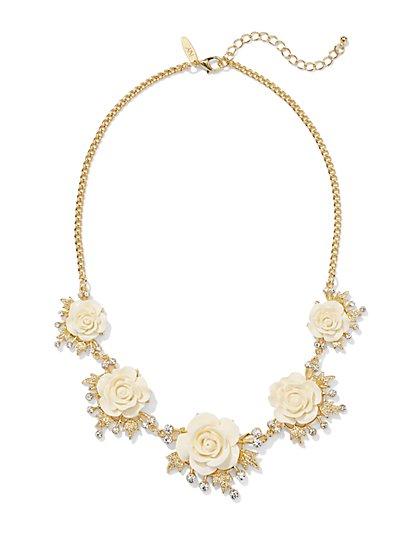 Sparkling Rosettes Bib Necklace  - New York & Company