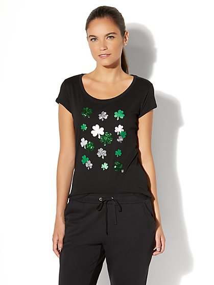 Sparkling Shamrocks Graphic Logo Tee - New York & Company