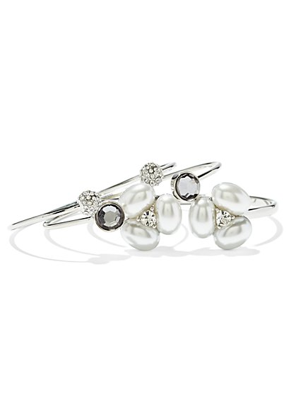 Sparkling Silvertone Bangle Set  - New York & Company
