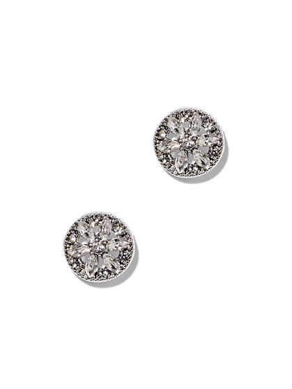 Sparkling Silvertone Disk Earring  - New York & Company