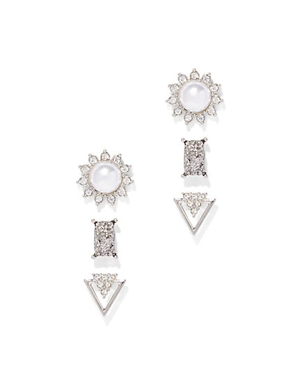 Sparkling Silvertone Post Earring Set  - New York & Company