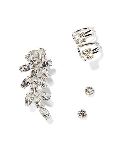 Sparkling Silvertone Post Earring Trio  - New York & Company