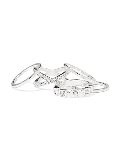 Sparkling Silvertone Ring Set  - New York & Company