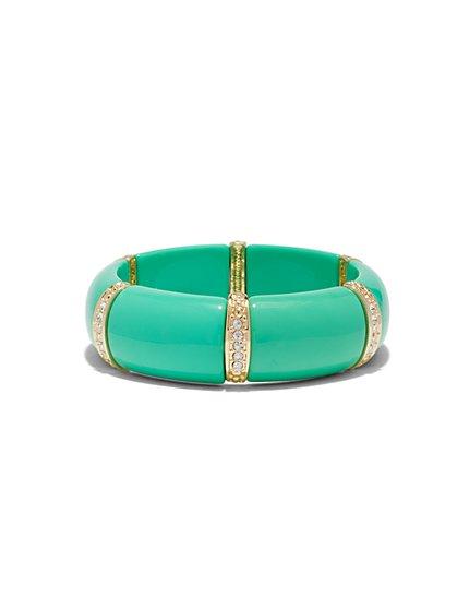 Sparkling Turquoise & Goldtone Stretch Bracelet  - New York & Company
