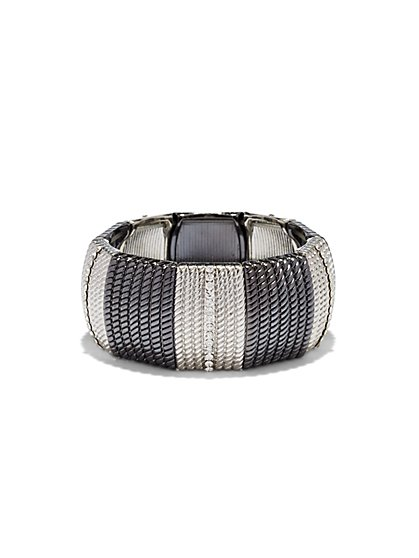 Sparkling Two-Tone Stretch Bracelet - New York & Company