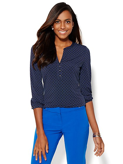 Split-Neck 3/4-Sleeve Top - Print  - New York & Company