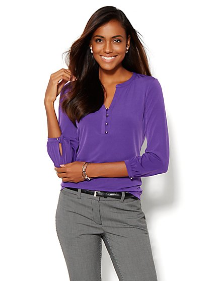 Split-Neck 3/4-Sleeve Top - New York & Company