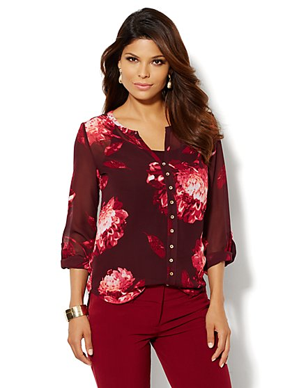 Split-Neck Blouse - Floral  - New York & Company