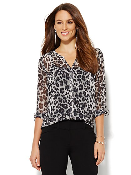Split-Neck Blouse - Leopard Print  - New York & Company