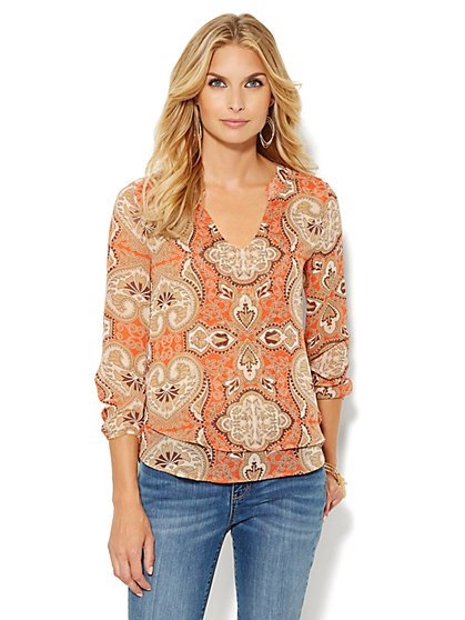 Split-Neck Blouse - Paisley Print  - New York & Company